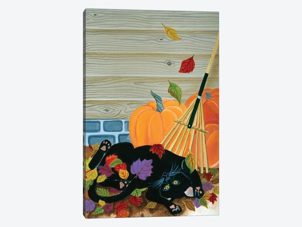 Playing In The Leaves by Jan Panico 1-piece Canvas Artwork