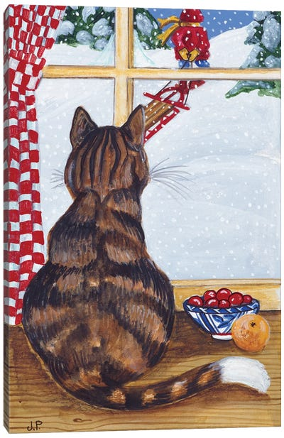 Rudolpha Watching Out The Window Canvas Art Print