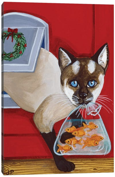 Siamese With Seven Fish Canvas Art Print