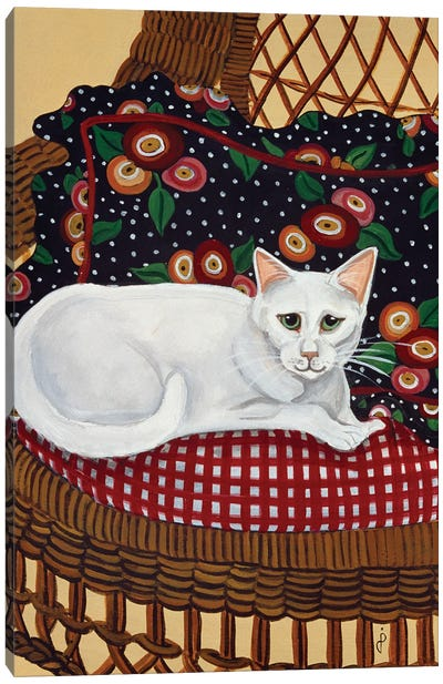 Snowball In A Wicker Chair Canvas Art Print