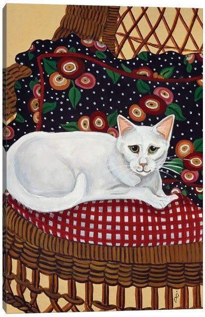Snowball In A Wicker Chair Canvas Art Print