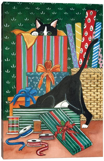 Tis' The Season Cats Canvas Art Print