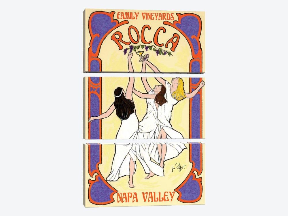 Rocca Family Vineyards Vintage Advertisement by Jean-Pierre Got 3-piece Canvas Artwork