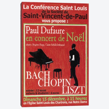 Paul Dufaure en Concert de Noel Vintage Advertisement Canvas Print #JPG3} by Jean-Pierre Got Canvas Art