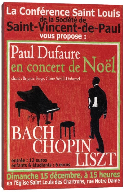 Paul Dufaure en Concert de Noel Vintage Advertisement Canvas Art Print