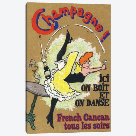 French Cancan Champagne Vintage Advertisement Canvas Print #JPG6} by Jean-Pierre Got Canvas Print