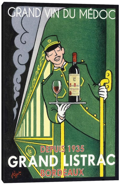1935 Grand Listrac Wine Vintage Advertisement Canvas Art Print
