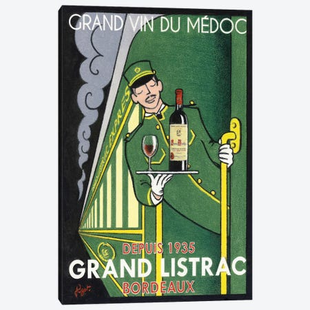 1935 Grand Listrac Wine Vintage Advertisement Canvas Print #JPG7} by Jean-Pierre Got Art Print