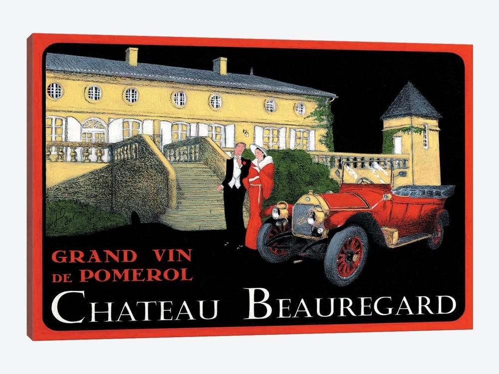 Chateau Beauregard Wine Vintage Advertisement by Jean-Pierre Got 1-piece Canvas Art