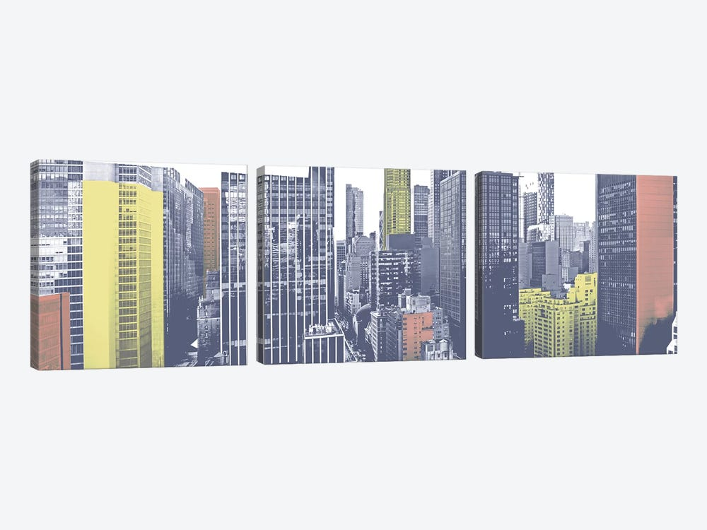 Pastel NYC Panorama by Jeff Pica 3-piece Canvas Art