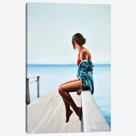 Distance Shores. Canvas Print #JPO109} by Johnny Popkess Canvas Artwork