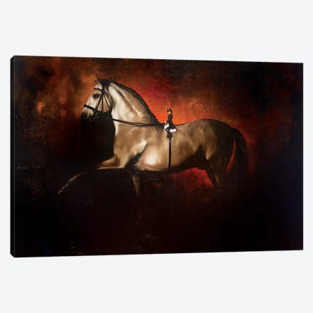 Dressage, A Horses View 3-Piece Canvas #JPO13} by Johnny Popkess Canvas Print