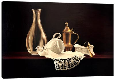 Glass, Brass And Porcelain Canvas Art Print