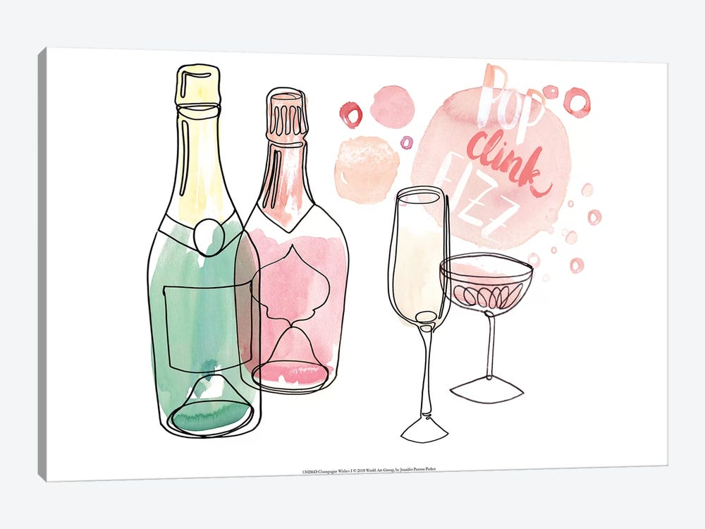 Champagne Wishes  I by Jennifer Paxton Parker 1-piece Canvas Wall Art