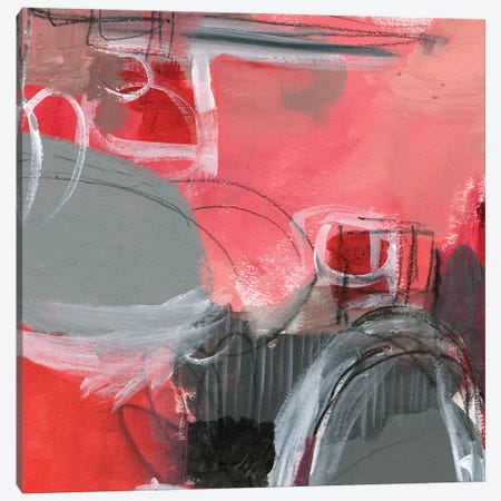 Red & Gray Abstract I Canvas Print #JPP139} by Jennifer Paxton Parker Canvas Artwork