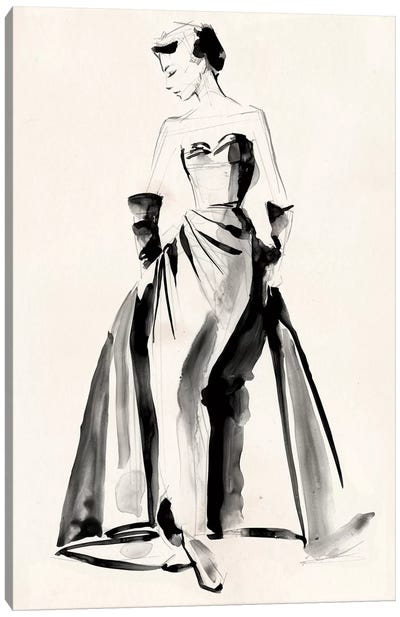 Vintage Costume Sketch I Canvas Art Print