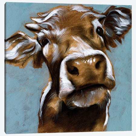 Cow Kisses I Canvas Print #JPP241} by Jennifer Paxton Parker Canvas Artwork