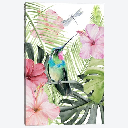 Hibiscus & Hummingbird II 3-Piece Canvas #JPP244} by Jennifer Paxton Parker Canvas Print