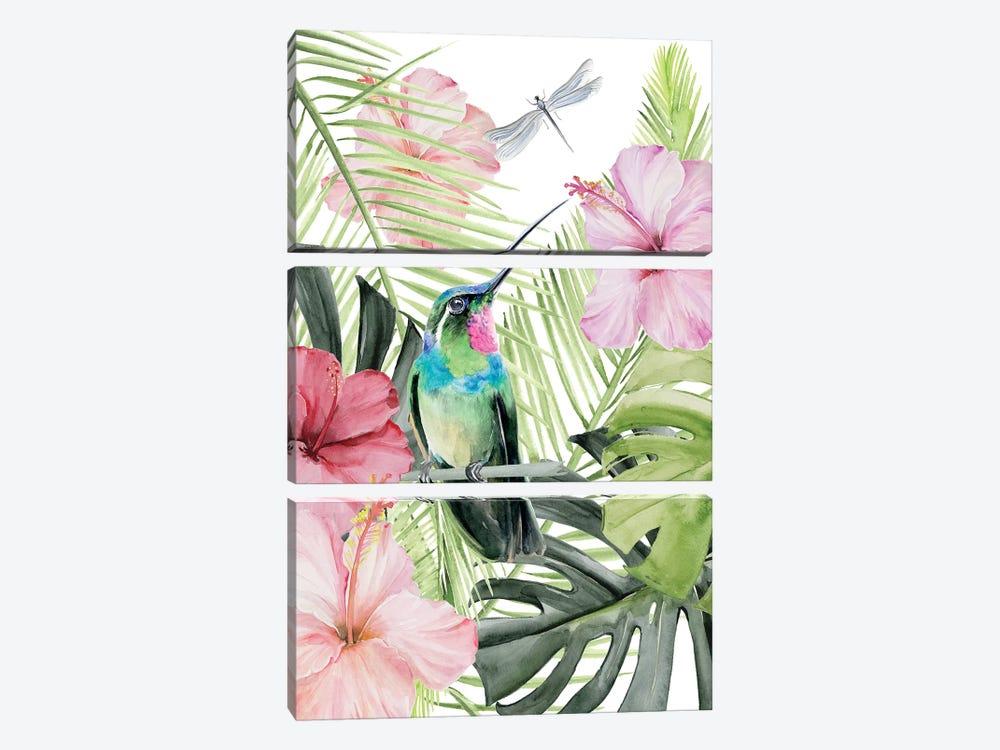 Hibiscus & Hummingbird II by Jennifer Paxton Parker 3-piece Canvas Art Print