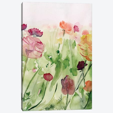 Among the Watercolor Wildflowers II 3-Piece Canvas #JPP284} by Jennifer Paxton Parker Canvas Print