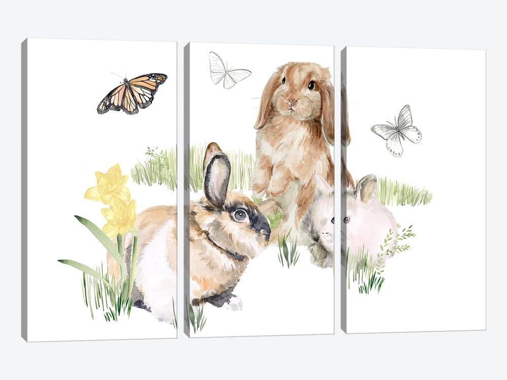 English Bunnies II by Jennifer Paxton Parker 3-piece Canvas Wall Art