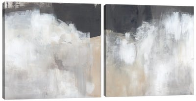 Neutral Abstract Diptych Canvas Art Print
