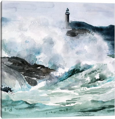 Lighthouse Waves II Canvas Art Print
