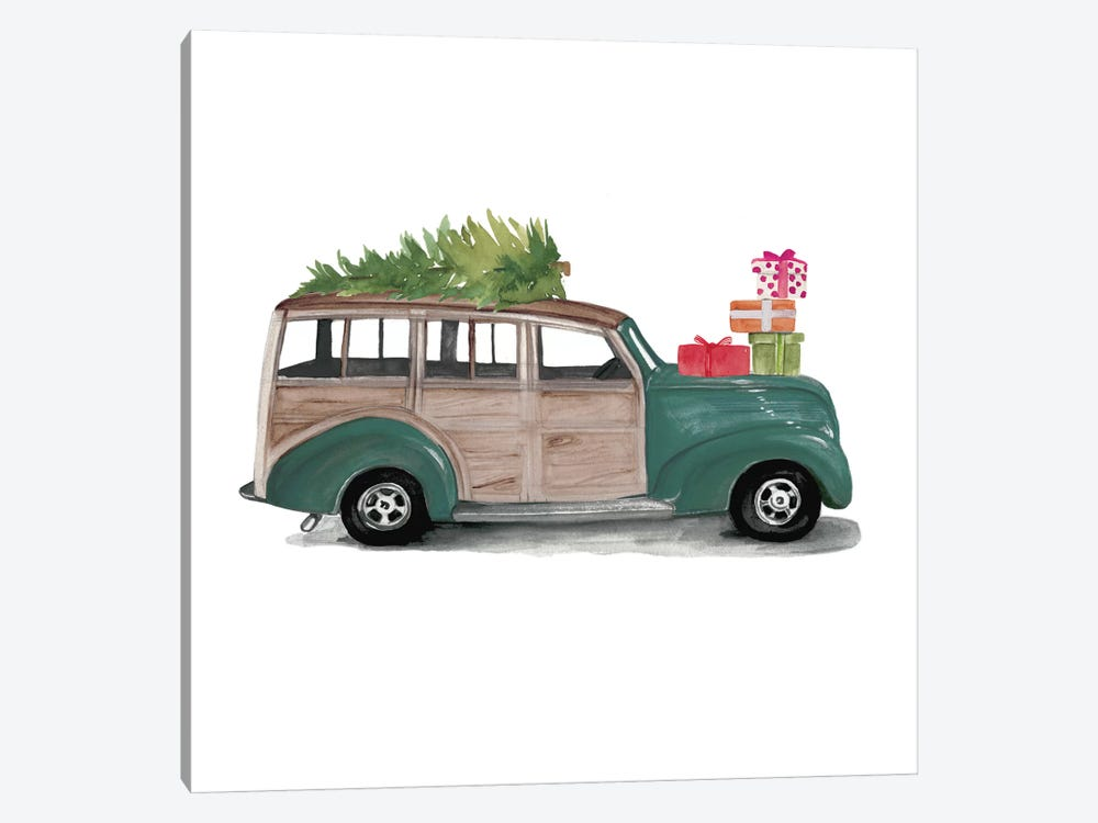 Christmas Cars IV by Jennifer Paxton Parker 1-piece Canvas Wall Art