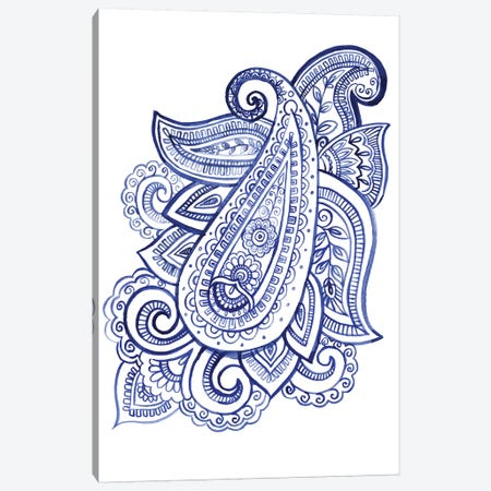 Indigo Paisley III Canvas Print #JPP67} by Jennifer Paxton Parker Canvas Wall Art
