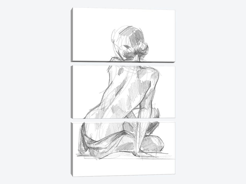 Sitting Pose II 3-piece Canvas Art Print