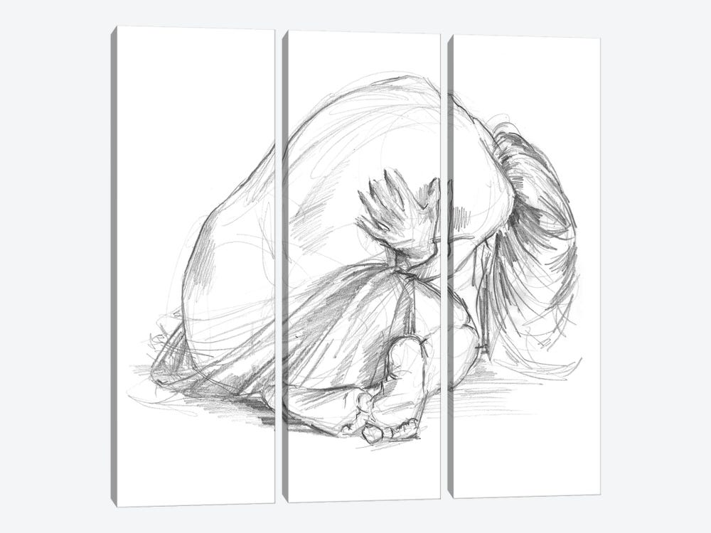Sitting Pose III by Jennifer Paxton Parker 3-piece Canvas Wall Art