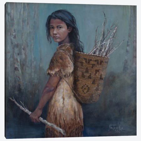 The Kindling Collector Canvas Print #JPR30} by Jan Perley Canvas Artwork