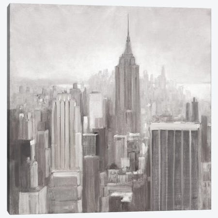 Manhattan in the Mist Gray Canvas Print #JPU16} by Julia Purinton Canvas Artwork