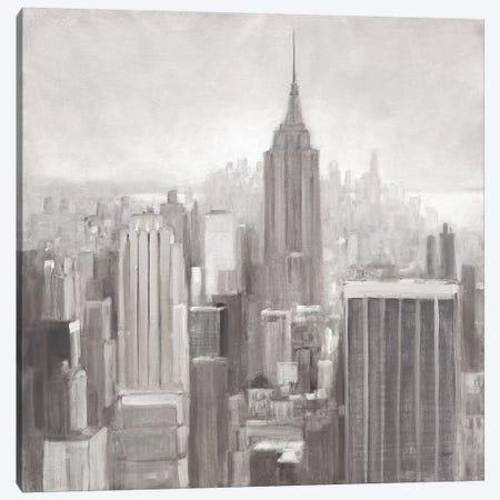 Manhattan in the Mist Gray Canvas Print #JPU16} by Julia Purinton Canvas Artwork