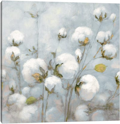 Cotton Field In Blue Gray Square Canvas Art Print