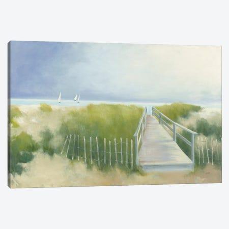 Beach Walk with Boats Canvas Print #JPU32} by Julia Purinton Canvas Art Print