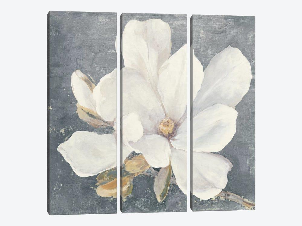 Serene Magnolia Gray by Julia Purinton 3-piece Canvas Print