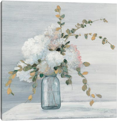 Morning Bouquet Blue Gray Crop Canvas Art Print