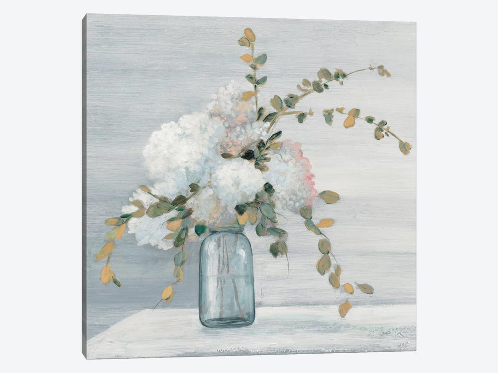Morning Bouquet Blue Gray Crop by Julia Purinton 1-piece Canvas Art