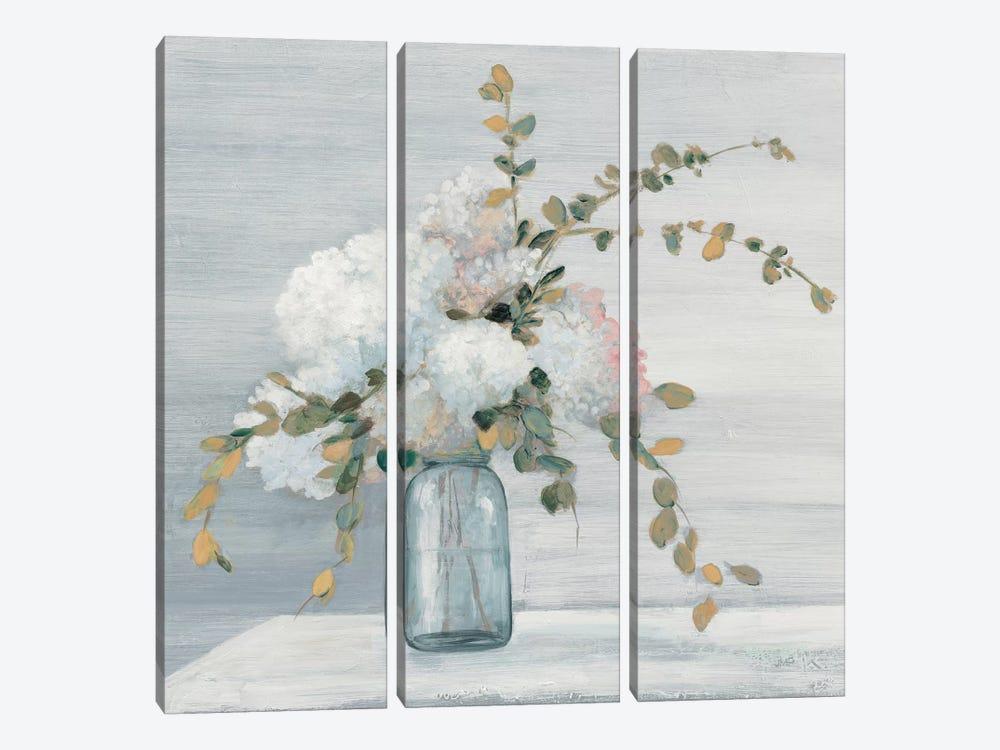 Morning Bouquet Blue Gray Crop by Julia Purinton 3-piece Canvas Wall Art
