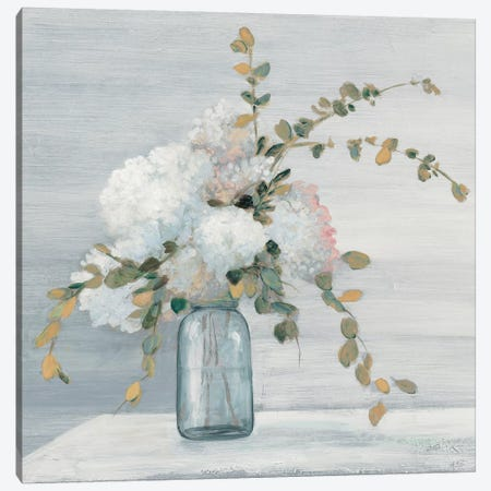 Morning Bouquet Blue Gray Crop Canvas Print #JPU46} by Julia Purinton Canvas Print