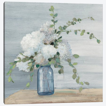 Morning Bouquet Navy Crop Canvas Print #JPU73} by Julia Purinton Canvas Print