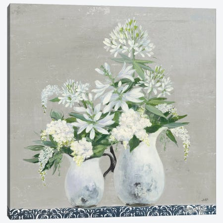 Late Summer Bouquet III with Tile 3-Piece Canvas #JPU86} by Julia Purinton Canvas Art Print