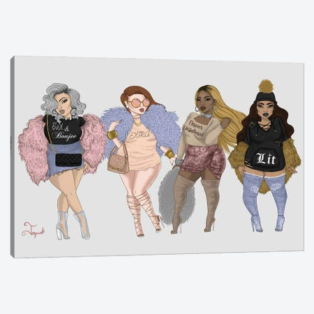 Baddie Squad Canvas Print #JQA11} by Jonquel Art Canvas Wall Art