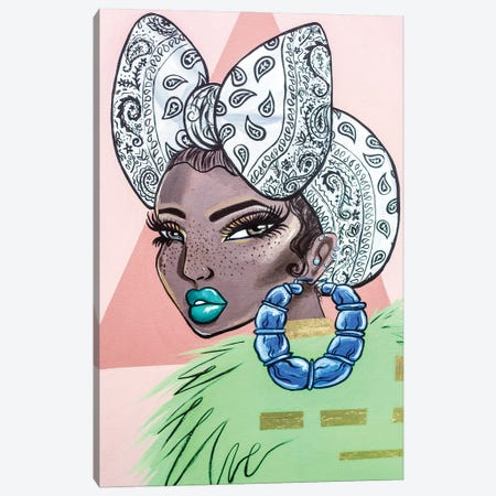 Girl With Bamboo Earring Canvas Print #JQA21} by Jonquel Art Art Print