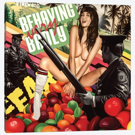Behaving Badly Canvas Print #JRA2} by Rawksy Canvas Art