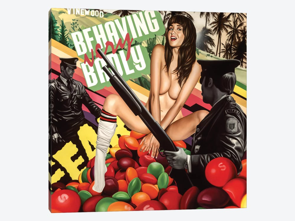 Behaving Badly by Rawksy 1-piece Canvas Print