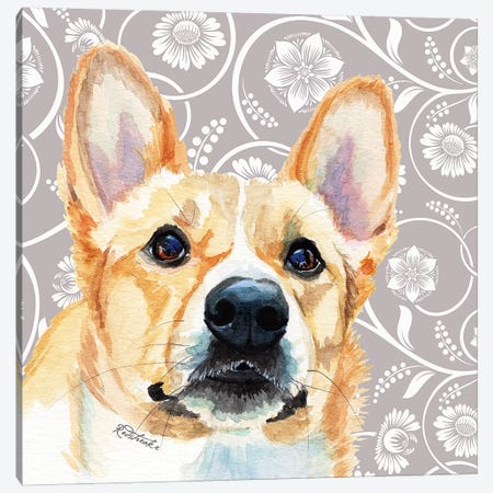 Corgie Canvas Print #JRE108} by Jennifer Redstreake Canvas Art