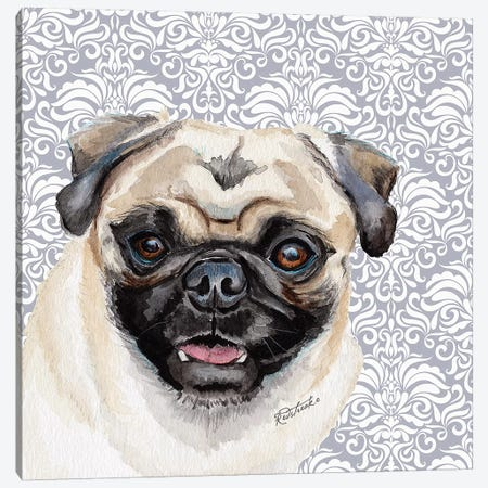 Pug Canvas Print #JRE127} by Jennifer Redstreake Canvas Art Print
