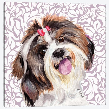 Shih Tzu With Bow Canvas Print #JRE132} by Jennifer Redstreake Canvas Art Print